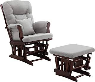 Angel Line Monterey Glider and Ottoman Cushion, Espresso/Grey