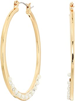GUESS - Dainty Pearl Hoop Earrings