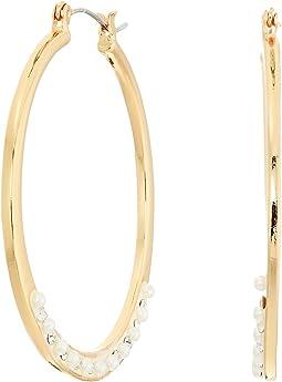 GUESS Dainty Pearl Hoop Earrings