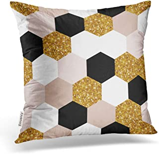 Emvency Throw Pillow Covers Abstract Geometric Pattern Geometry Gold Black White Hexagon Grid Chic Decor Pillowcases Polyester 20 X 20 Inch Square Hidden Zipper Home Cushion Decorative Pillowcase