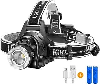 【進化版】Helius LEDヘッドライト USB 充電式 電気出力 高輝度CREE L2 LED 明るい1600ルーメン ズーム 3モード Led ライト ヘッドランプ 人感センサー機能付き 電量ディスプレイ可能 軽量 防水 防災 登山 釣り...