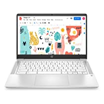 [Pre-Paid] HP Chromebook Thin & Light 14-inch (35.6 cm) Touchscreen Laptop (Celeron N4020/4GB/64GB eMMC + 256GB Expandable Storage/Chrome OS/Integrated Graphics), Ceremic White), 14a-na0002TU