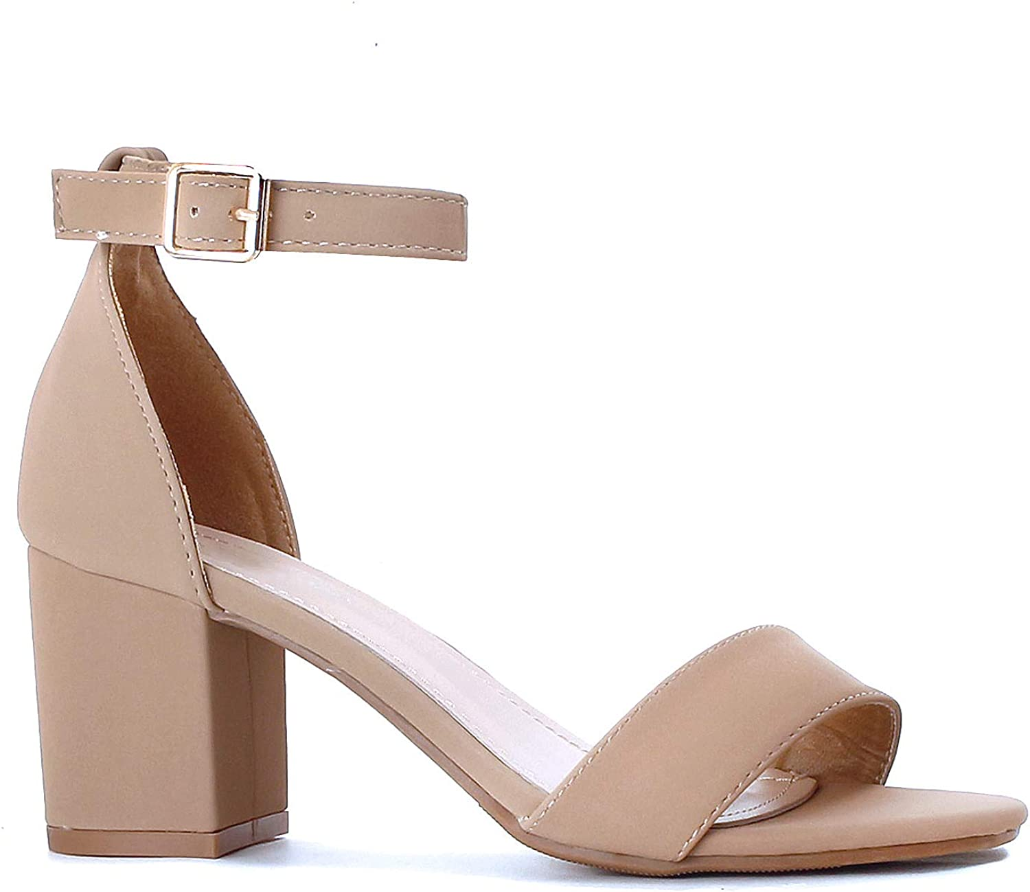 Guilty Heart Womens Light Weight Comfortable Chunky Block Ankle Strap Open Toe Low Heeled Sandals