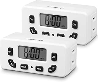 Fosmon 24 Hour Programmable Digital Timer Outlet (2 Pack), ON/Off Program, LCD Display, Mini Indoor Single Plug-in Outlet ...