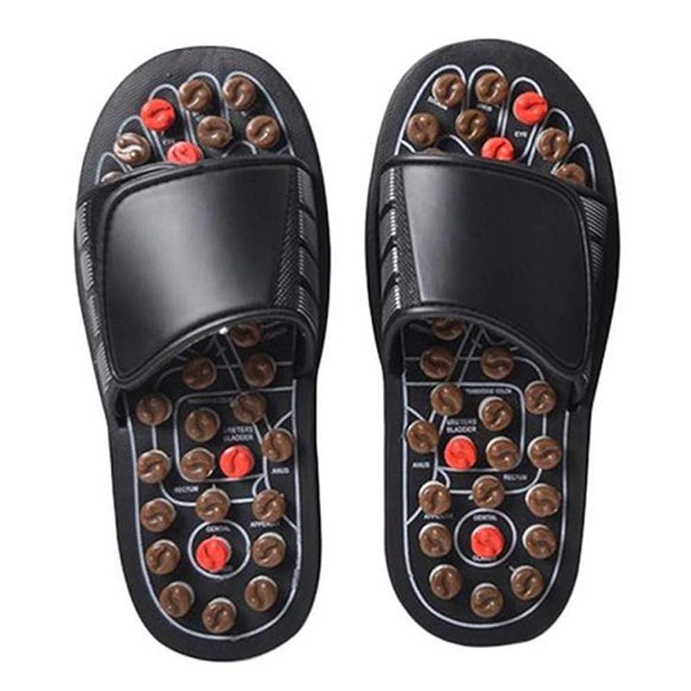 負制限された行商人フットマッサージャー指圧マッサージスリッパ、リフレクソロジーサンダル、足底筋膜炎のためのAcupointフットマッサージシューズ滑り止め健康な女性のための靴,44/45