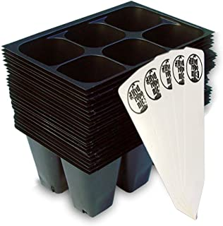 Seedling Starter Trays, 144 Cells (24 Trays - 6 Cells Per Tray) + THCity Stakes