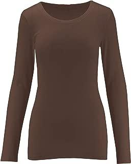 Womens Crew Neck Cotton Blend Essential Long Sleeve T-Shirt Top