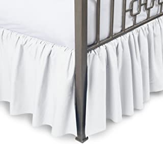 Sleepwell White Solid, Twin Size Ruffled Bed Skirt 12 inch Drop Split Corner,100 Percent Pure Egyptian Cotton 400 Thread Count, Wrinkle & Fade Resistant
