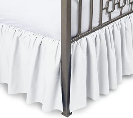 featured product Sleepwell White Solid,  Queen Size Ruffled Bed Skirt 12 inch Drop Split Corner, 100 Percent Pure Egyptian Cotton 400 Thread Count,  Wrinkle & Fade Resistant