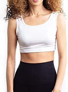 Halftee Wide Tank Crop Top - Modest - Comfortable Layering Top White