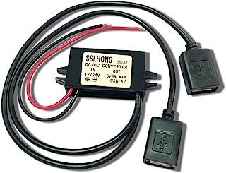 SSLHONG Waterproof DC Converter 12V 24V to 5V 3A/15W Dual USB Power Adapter 12V to 5V Step Down Voltage Regulator Charge f...
