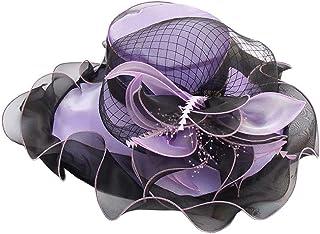 Bigood Womens Elegant Flower Organza Derby Beach Sun Cap Fascinators Hat