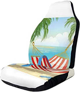 GULTMEE Car Front Seat Covers Vehicle Protector Mat Covers,Hammock Between Palm Trees On Beach Cartoon Style Illustration Digital Composition,Fit Most Cars,Sedan,Truck,SUV