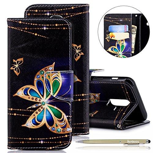 Herbests Kompatibel mit Samsung Galaxy A6 Plus 2018 Lederhülle Flip Wallet Brieftasche Hülle Leder Bookstyle Handyhülle Tasche Handytasche Ledertasche Klapphülle Kartenfächer,Glitzer Schmetterling