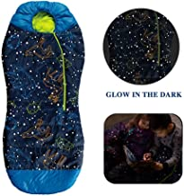 AceCamp Kids Sleeping Bags for Boys Girls Glow-in-The-Dark Sleeping Bag Blue Purple Mummy Style Toddler Extreme Temp Rating 30F/ -1C Great for Slumber Party/Travel/Camping - (Blue - Kids)