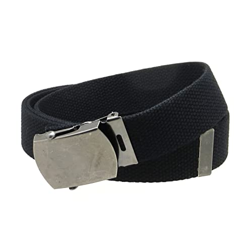 Canvas Web Belt Military Style Antique Silver Buckle Tip Solid Color 50