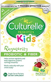 Culturelle Kids Regularity Probiotic & Fiber Dietary Supplement | Helps Restore Regularity & Maintain Smooth Digestion | Works Naturally with Child's Body | 24 Single Packets