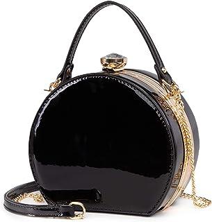 LJOSEIND Shiny Patent Leather Canteen Crossbody Small Handbags Fashion Purses for Women