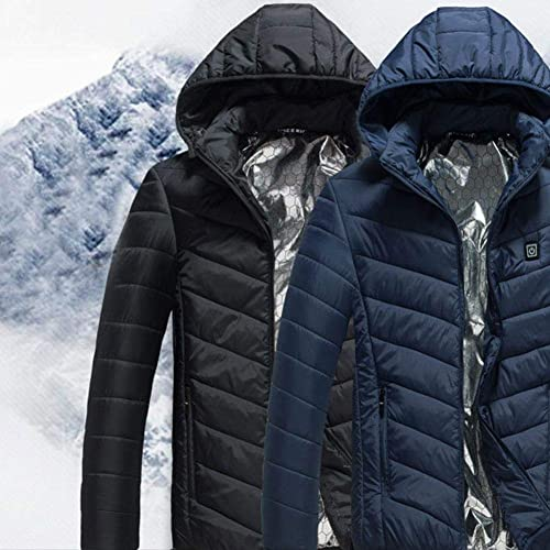 DIVAND de plein air Multi-Function Heating Down veste, intelligent USB 3-Speed Contrôle de la température à Capuchon Chaud Manteau d'alpinisme vêteHommests Cyclisme vêteHommests Ski Wear (Bleu)