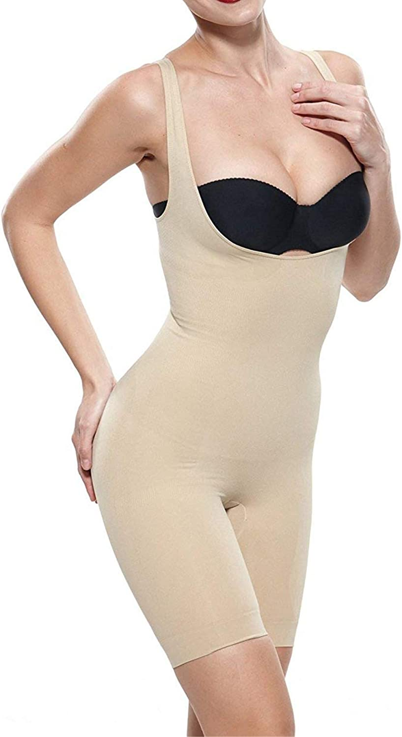 Fay Fay Women's Open Bust Shapewear Firm Control Mid Thigh Bodysuit