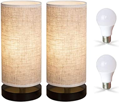ZEEFO Bedside Table Lamp, Modern Simple Design Desk Lamp with Cylinder Fabric Shade and Black Base, Included 2 Led Bulbs, Per