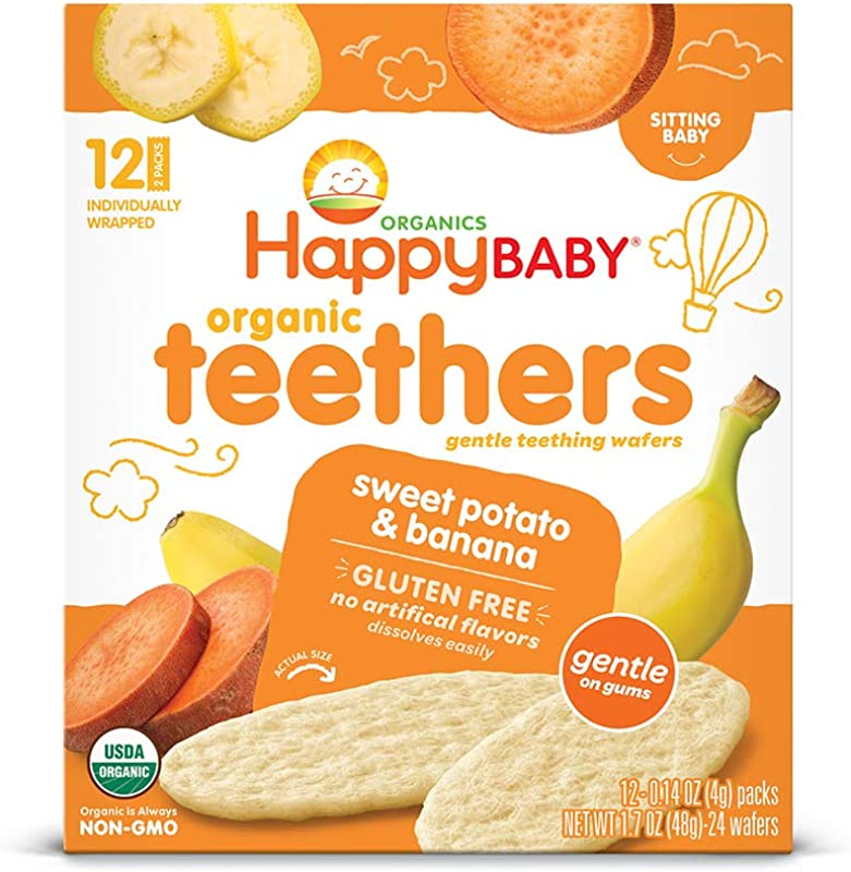 Happy Baby Gentle Teethers Organic Teething Wafers Banana Sweet Potato 12 Count Box Pack Of 6 Soothing Rice Cookies For Teething Babies Dissolves Easily Gluten Free Packaging May Vary