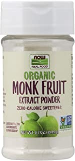 NOW Foods, Certified Organic Monk Fruit Extract Powder, Zero Calorie Sweetener, Large Bottle for Serving Scoop, Certified ...