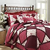 Cozy Line Home Fashions Darlene Love Romantic Burgundy Red Floral Rose Flower Lace Real Patchwork 100% Cotton Bedding Quilt Set, Coverlet Bedspread (Red Lace, King - 3 Piece)