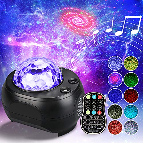 Night Light Projector, Galaxy Projector Light Starry Star Night Light Built-in Bluetooth Speaker, Ocean Wave Light with Remote Control 32 Colors Mode Changing for Kids Adults Gifts Room Home Decor
