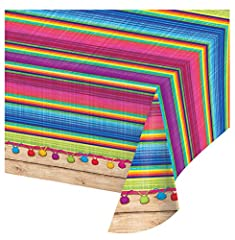 Plastic table cover with decorative all over print 54 x 102-Inches South of the border fun with a vividly colored blanket pattern Look for Serape paper plates, paper napkins, party decorations, themed photo booth props and coordinating solids Fresh L...