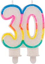 Folat - 30th Birthday Glitter Candles with 2 Holders