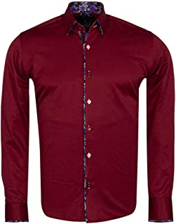 Men's Casual Cotton Long Sleeve Dress Shirt, Floral Cuff And Collar, Button Down, Business and...