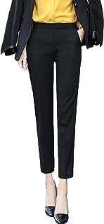 DeBangNi レディース スラックス スーツ パンツ 九分丈 夏 薄手 ロングパンツ 無地 純色 オフィス ビジネス スキニーパンツ ストレート ストレッチ カジュアル フォーマル OL風