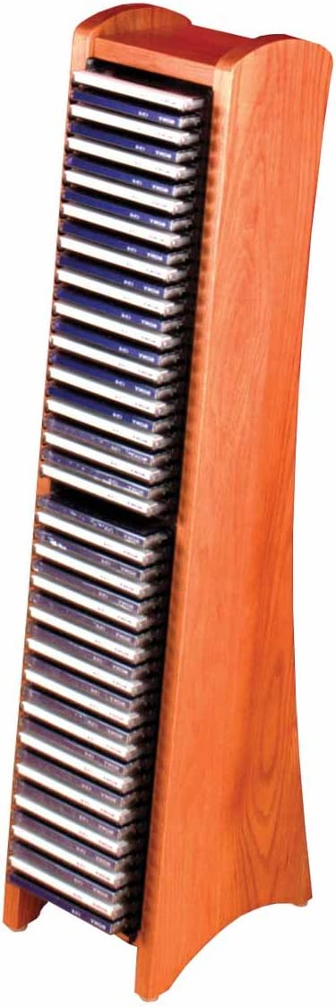 Light Oak Wood Media Organizer CD Tower Modular - 50 CDs Rack Hard to Find Heavy Duty Renovators Supply