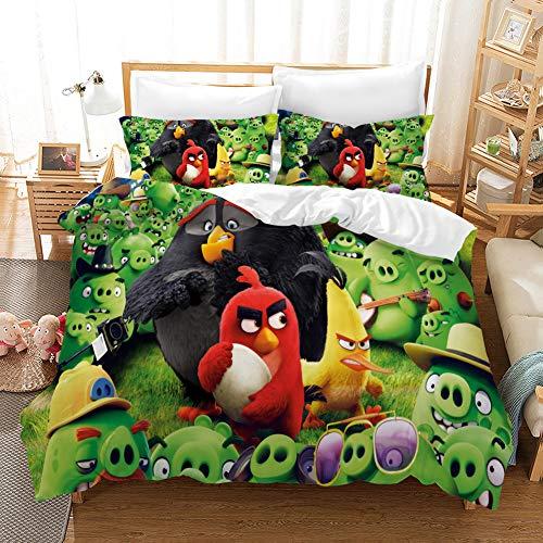 Yumhi Bedding Set Kids Angry-Birds 2Piece Duvet Cover Set Girls Boys, 2Piece Bedding Set Angry-Birds Bedding Cover Bedspread Cover Tollders Twin