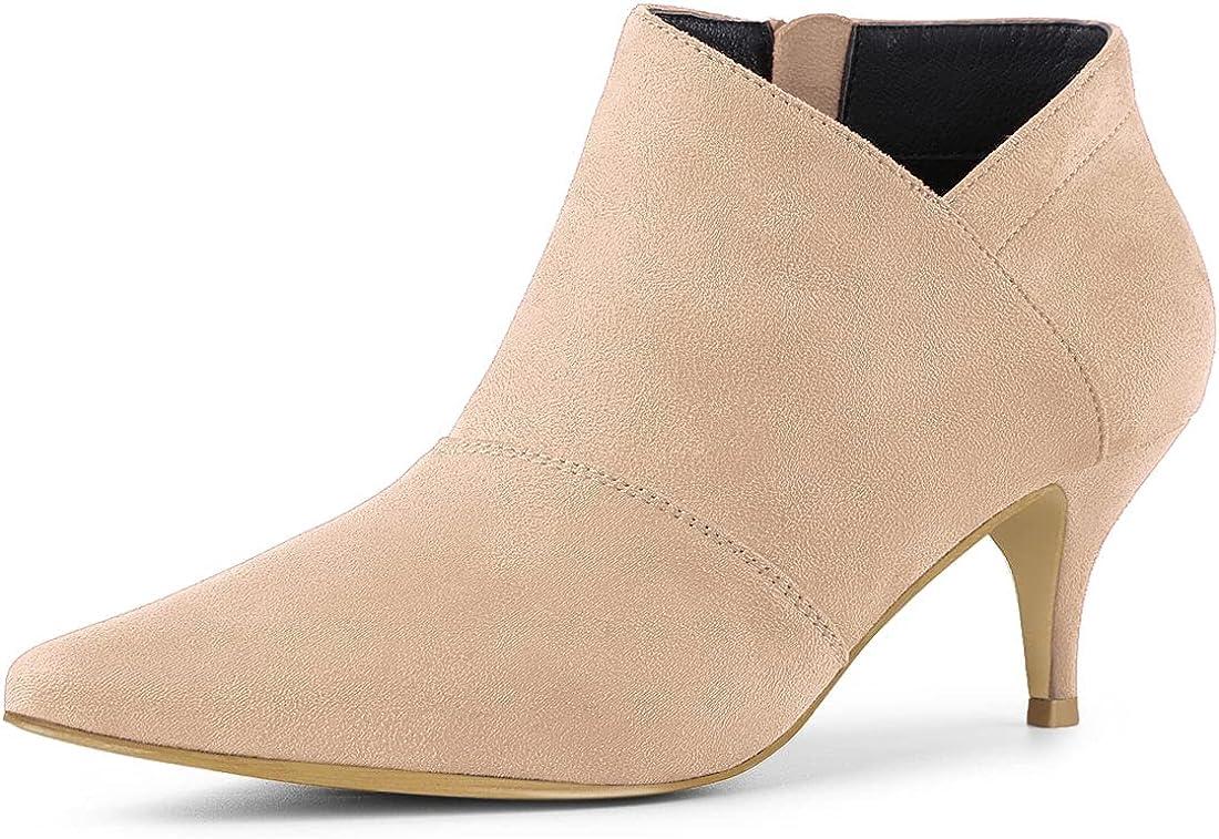 Allegra K Women's Max 88% OFF Pointed Toe Ranking TOP11 Cutout Ankle Kitten Boots Heel
