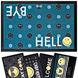 Kitcch Geek Smiley World - Felpudo original para exterior o interior, 40 x 60 cm, color azul