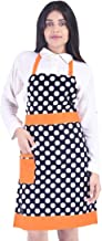 Switchon Polka Prints Free Size Waterproof Cotton Apron for Womens - Orange