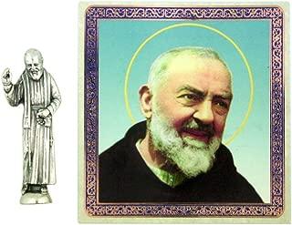 Ambrosiana Patron Saint Padre Pio of Pietrelcina 1 1/2 Inch Pocket Statue with Prayer Card