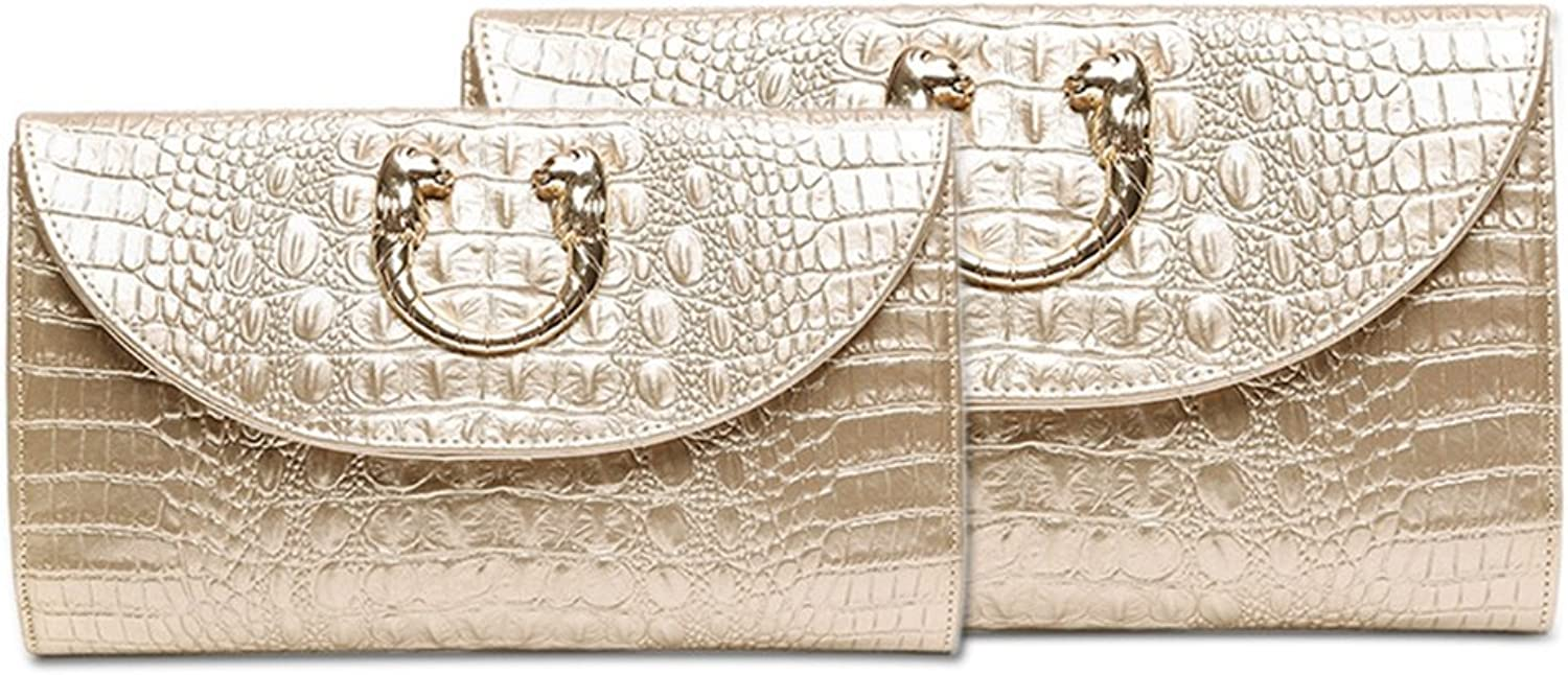 LVCSIUE Women's Genuine Leather Crocodile Pattern Day Clutches Luxury Evening Bags