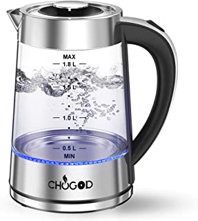 Electric Kettle, 1500W Tea Kettle 1.8L Cordless Water Heater, Stainless Steel Glass Water Boiler With LED Blue Light Borosilicate Glass, BPA-Free Auto Shut-Off & Boil-Dry Protection