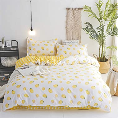 Anjos Yellow Lemons Simple Brief Polyester Microfiber Duvet Cover Set Bedsheet Pillowcases Bedding Set 4pc Double Size 70 x86 (180x220cm)