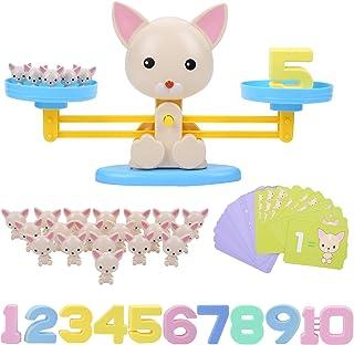 FORMIZON Equilibrar Juego de Matemáticas, Juguete Animal Balanza, Juguete Educativo Niños Balanza de Equilibrio Números Tarjetas, Juego Divertido Regalo Educativo para Niñas Niños (Perro)