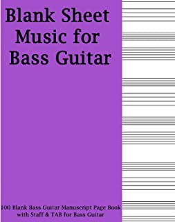 Blank Sheet Music For Bass Guitar: Purple Cover, 100 Blank Manuscript Music Pages with Staff and TAB lines, For Musicians Gifts and Bass Players