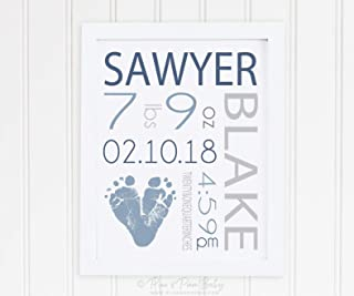 Arvier Gray Blue Nursery Art Birth Announcement Wall Print Footprint Baby Boy Room Decor Personalized with Your Childs Feet inches Framed Wall Art