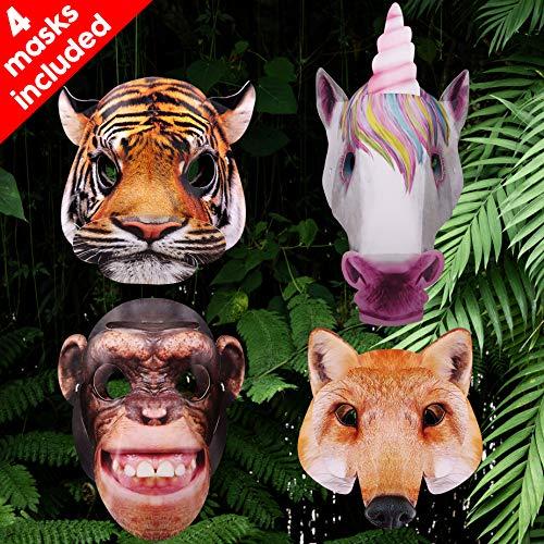 bee SMART 3D-Tiermaskenauswahl Enthält Tiger, Einhorn, Fuchs und Schimpanse Masken für Kinder Rollenspiele, Tiermasken Kostüm Requisiten Dress-Up Party Zubehör / Kindergeburtstag