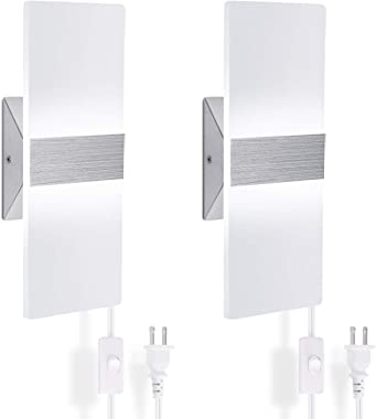 Modern Wall Sconce Plug in 15W, Set of 2 Wall Sconces Plug in Cool White, Acrylic Material Wall Mounted Wall Lights sconces W