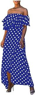 Off Shoulder Polka Dot Ruffle Maxi Dress Women NRUTUP-Dress Summer Chiffon Layered Flowy Holiday Beach Party Dress