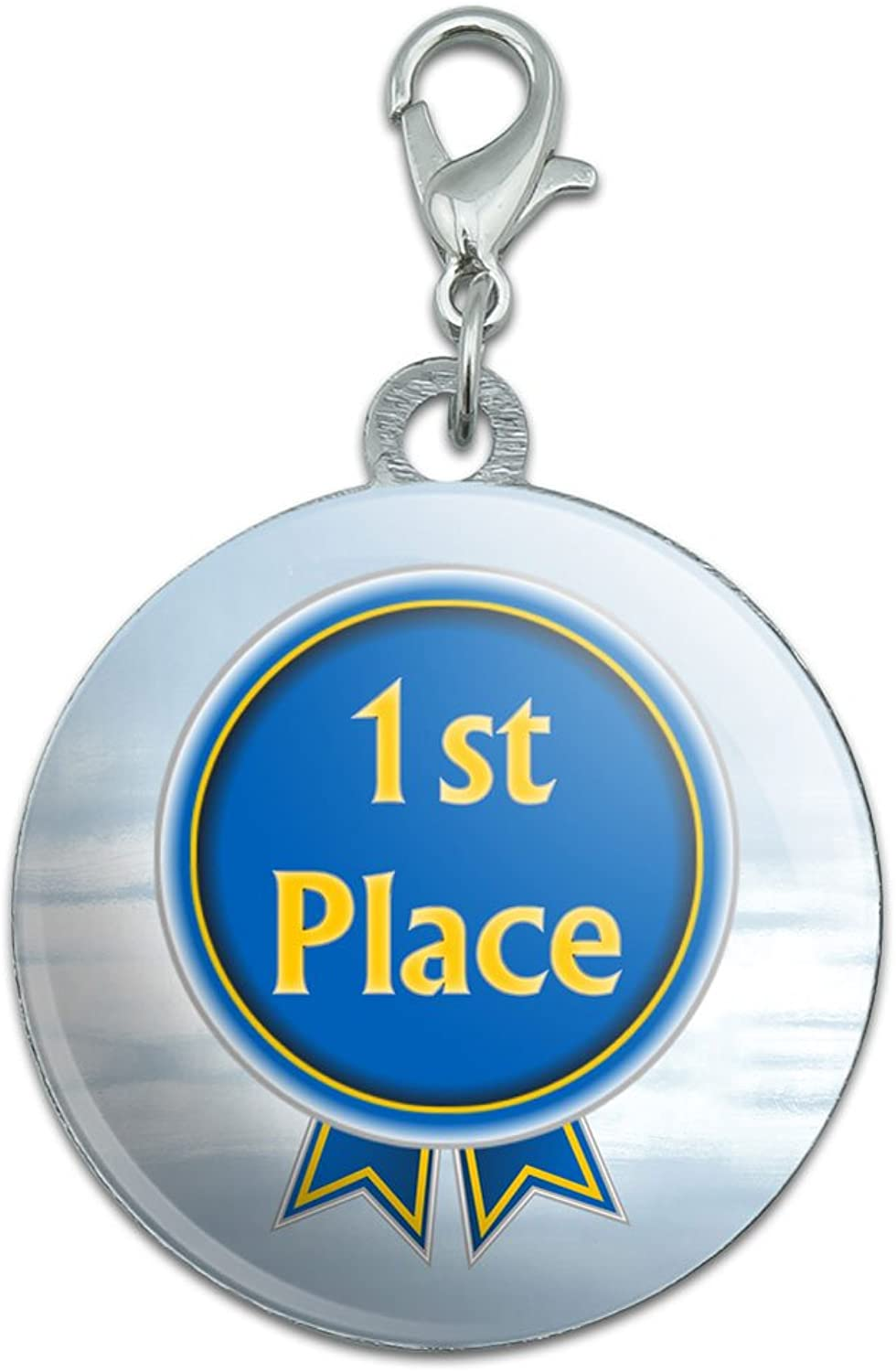 bluee Ribbon First Place Award Stainless Steel Pet Dog ID Tag