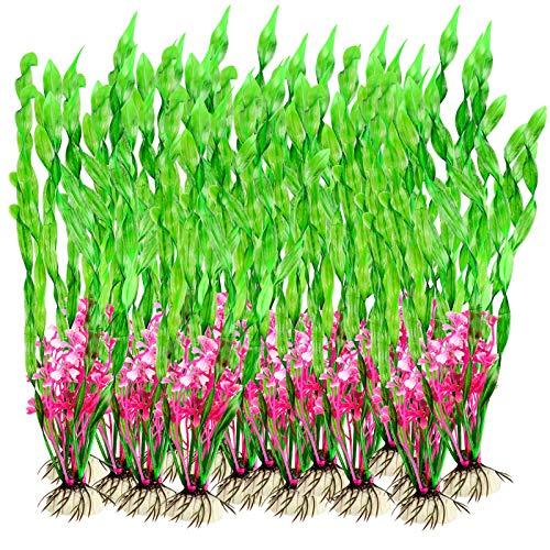 Plantas Artificiales Acuario, 20 Piezas de Acuario de Peces de Tanque Plantas Artificiales de plástico Verde 30cm/12in de Altura